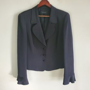 escada silk black blazer with ruffle cuff